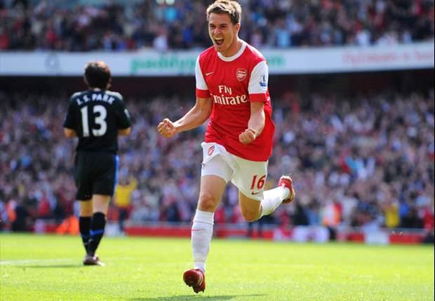 Ramsey je leta 2011 takole proslavil zmagoviti zadetek proti rdečim vragom. Vir: Goal
