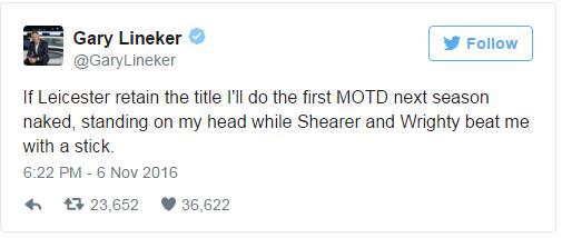 """V prevodu: """"Če Leicester obdrži naslov prvaka, bom prvo Match of the day oddajo v prihajajoči sezoni vodil nag, obrnjen na glavo, medtem ko me bosta Alan Shearer in Ian Wright tepla s palico.""""  Vir: Twitter"""