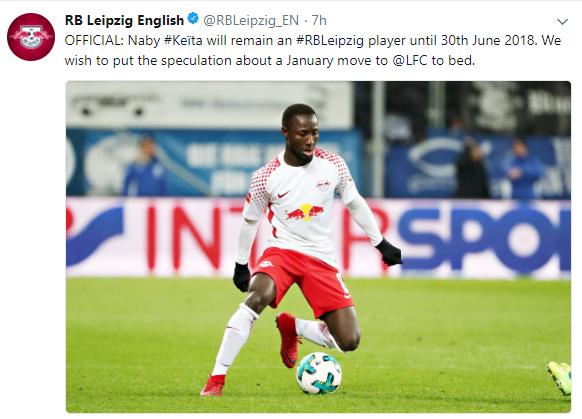 """""""Keita ostaja v Nemčiji do konca sezone,"""" so jasno sporočili pri RB Leipzigu. Vir: Twitter"""