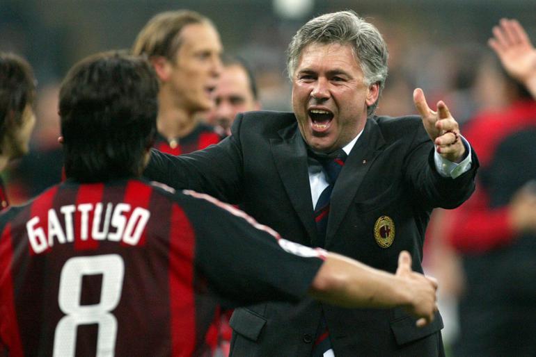 Ancelotti je Ligo Prvakov dvakrat osvojil z Milanom, enkrat pa mu je to uspelo še na klopi madridskega Reala. Vir: monitor.bg