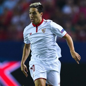during the UEFA Champions League Group H match between Sevilla FC and Olympique Lyonnais at the Ramon Sanchez-Pizjuan stadium on September 27, 2016 in Seville, .