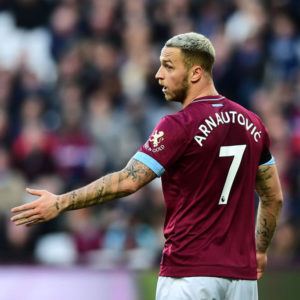 LONDON, ENGLAND - NOVEMBER 03:  Marko Arnautovic of West Ham United looks on during the Premier League match between West Ham United and Burnley FC at London Stadium on November 3, 2018 in London, United Kingdom.  (Photo by Alex Broadway/Getty Images)